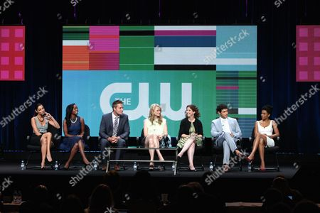 Pictured (L-R ) Necar Zadegan, Aja Naomi King, Justin Hartley, Mamie Gummer, Executive Producer Jennie Snyder Urman, Michael Rady and Kelly McCreary during EMILY OWENS, M.D panel at THE CW TCA Summer Press Tour 2012, held at The Beverly Hilton in Los Angeles, CA on Monday, July 30, 2012 in Los Angeles, CA.