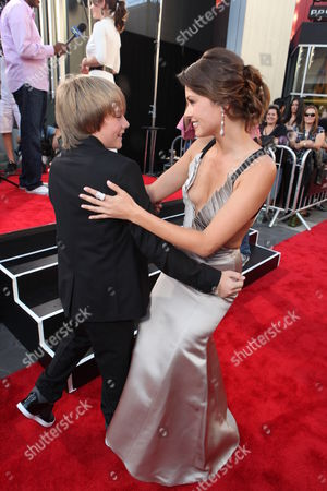 Dakota Goyo and Olga Fonda is seen at The U.S. Premiere of DreamWorks Pictures' Action Drama 'Real Steel' at the Gibson Amphitheatre at Universal CityWalk, on Sunday, October 2, 2011 in Universal City, California.