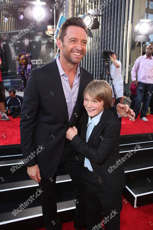 Hugh Jackman and Dakota Goyo is seen at The U.S. Premiere of DreamWorks Pictures' Action Drama 'Real Steel' at the Gibson Amphitheatre at Universal CityWalk, on Sunday, October 2, 2011 in Universal City, California.
