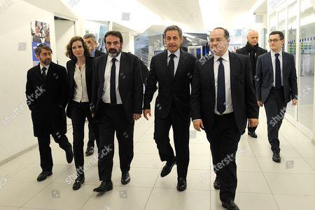Chief Rabbi of France Haim Korsia, Right wing UMP party MP Nathalie Kosciusko-Morizet, Joel Mergui, Nicolas Sarkozy and Ariel Goldmann