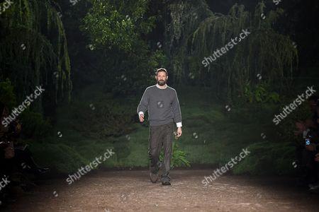 Designer Stefano Pilati on the catwalk