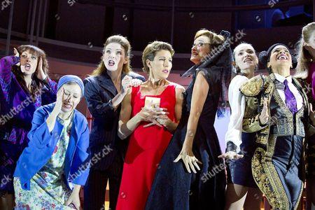 l-r: Rebecca McKinnis (ensemble), Sarah Moyle (ensemble), Willemijn Verkaik (Paulina), Tamsin Greig (Pepa Marco), Haydn Gwynne (Lucia), Seline Hizli (Marisa), Holly James (ensemble)