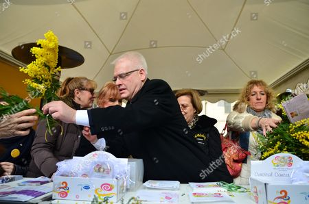 Stock Photo of President of the Republic, Ivo Josipovic joined in the celebration of the National Day Against Cervical Cancer known as 'Mimosa Day' at Flower Square (Petar Preradovic Square)