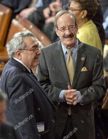 United States Representatives G K Butterfield (Democrat of North Carolina), left, and Eliot Engel (Democrat of New York), right, engage in conversation