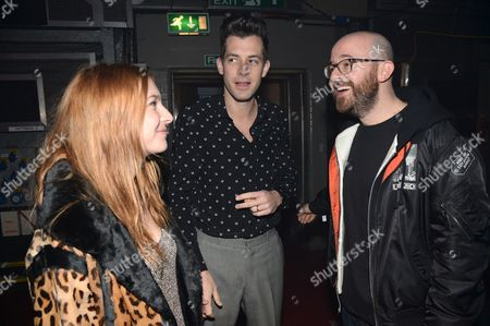 Josephine De La Baume, Mark Ronson and Seb Chew (Polydor record executive)