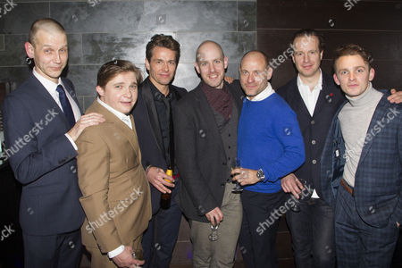 Stock Photo of Richard Cant (Bernie), Jonathan Broadbent (Guy), Julian Ovenden (John), Robert Hastie (Director), Matt Bardock (Benny), Geoffrey Streatfeild (Daniel) and Lewis Reeves (Eric)