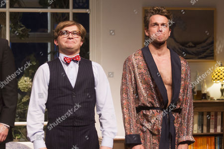 Julian Ovenden (John) and Jonathan Broadbent (Guy) during the curtain call for the transfer of My Night With Reg at the Apollo Theatre
