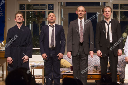 Lewis Reeves (Eric), Matt Bardock (Benny), Richard Cant (Bernie) and Geoffrey Streatfeild (Daniel) during the curtain call for the transfer of My Night With Reg at the Apollo Theatre, London, England on 23rd January 2015. (Credit should read: Dan Wooller/wooller.com). Paid use only. No Syndication