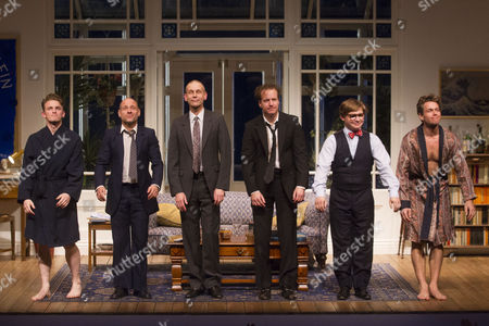 Lewis Reeves (Eric), Matt Bardock (Benny), Richard Cant (Bernie), Geoffrey Streatfeild (Daniel), Julian Ovenden (John) and Jonathan Broadbent (Guy) during the curtain call for the transfer of My Night With Reg at the Apollo Theatre