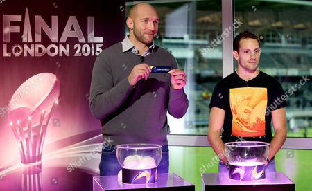 Ben Kay (double European Cup winner 2001 and 2002 - Leicester Tigers) and Renaud Lavillenie (pole vault world record holder and Olympic Gold Medalist) perform the draw for the Semi-Finals of the European Champions Cup