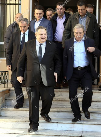 PASOK leader Evangelos Venizelos leaves the polling station in Thesaloniki
