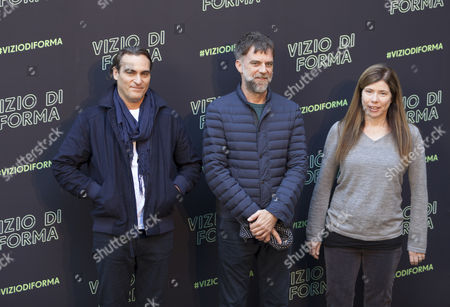 Stock Image of Joaquin Phoenix, Paul Thomas Anderson and JoAnne Sellar