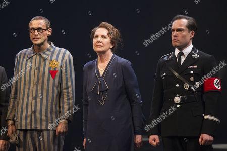 Martin Hutson (Hans Litten), Penelope Wilton (Irmgard) and John Light (Dr Conrad) on stage