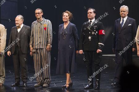 Allan Corduner (Franz Litten), Martin Hutson (Hans Litten), Penelope Wilton (Irmgard), John Light (Dr Conrad) and David Yelland (Lord Clifford Allen) on stage