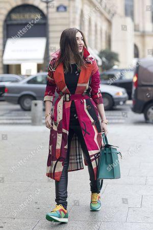 Nasiba Adilova; Burberry coat