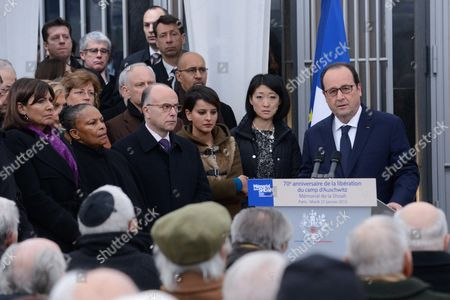 Stock Photo of Mayor of Paris Anne Hidalgo, French Justice minister Christine Taubira, French Interior minister, Bernard Cazeneuve, French Education Minister Najat Vallaud-Belkacem, French Minister for Culture and Communication, Fleur Pellerin, French President Francois Hollande