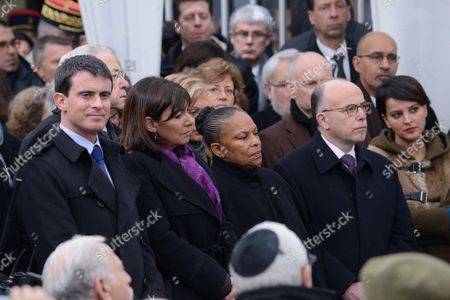 French Prime Minister, Manuel Valls, Mayor of Paris Anne Hidlago, French Justice minister Christine Taubira, French Interior minister, Bernard Cazeneuve, French Education Minister Najat Vallaud-Belkacem at the Holocaust memorial in Paris to mark the international day of Holocaust remembrance, and the 70th anniversary of the liberation of the Auschwitz-Birkenau death camp, during World War II.