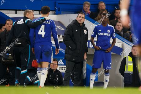 Cesc Fabregas of Chelsea is taken off injured and replaced by Ramires