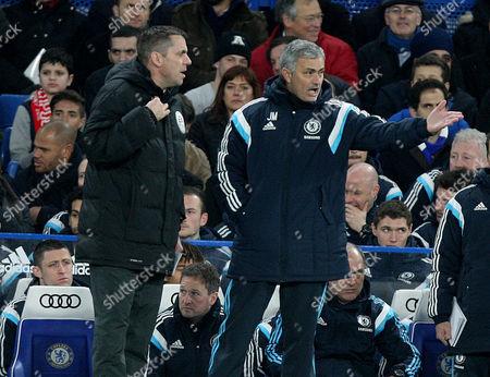 Jose Mourinho complains to 4th official Phil Dowd.