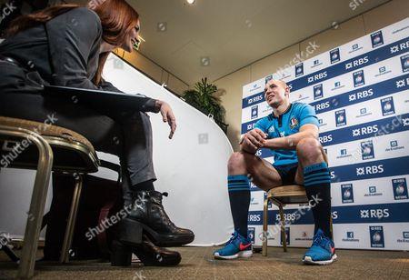 RBS 6 Nations presenter Alexandra Evans interviews Italy captain Sergio Parisse