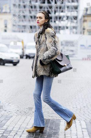 Stock Image of Model Magda laguinge Paris Street Style Fashion. FW15. PFW.