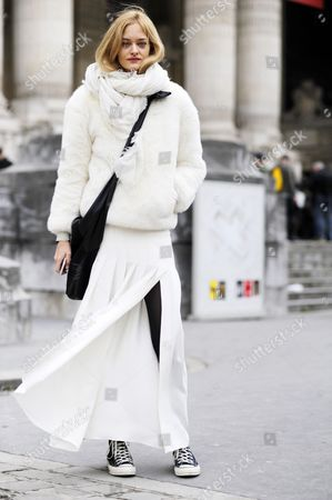 Model Nadine Strittmatter, after chanel Couture, PFW FW15.