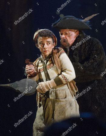 Patsy Ferran as Jim Hawkins, Aidan Kelly as Bill Bones