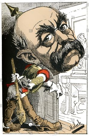 Otto Eduard Leopold von Bismarck-Schoenhausen, Prince of Bismarck, Prime Minister of Prussia and first Chancellor of the German Empire, political caricature, 1882, by Alphonse Hector Colomb pseudonym B. Moloch, a French caricaturist