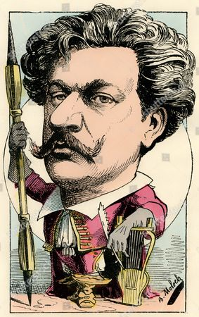 Stock Photo of André Gill or Louis-Alexandre Gosset de Guînes, a French caricaturist, caricature, 1882, by Alphonse Hector Colomb pseudonym B. Moloch, a French caricaturist