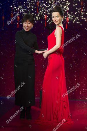 Christina Yau with a waxwork of Li Bingbing