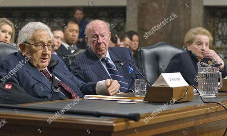 Henry Kissinger, George Shultz and Madeleine Albright