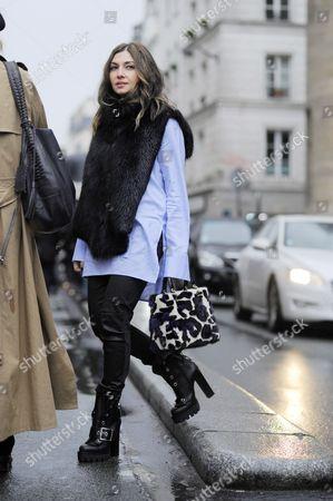 Nasiba Adilova,  after Jean Paul Gaultier couture show, Paris Street Style Fashion. FW15. PFW.