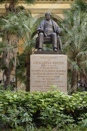 Statue of Gioacchino Antonio Rossini by Carlo Marochetti, in the courtyard of the music conservatory Conservatorio Statale di Musica ''Gioachino Rossini'', Pesaro, Marche, Italy