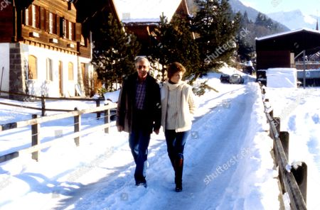 PETER SELLERS AND WIFE LYNNE FREDERICK IN GSTAAD, SWITZERLAND - 1980s
