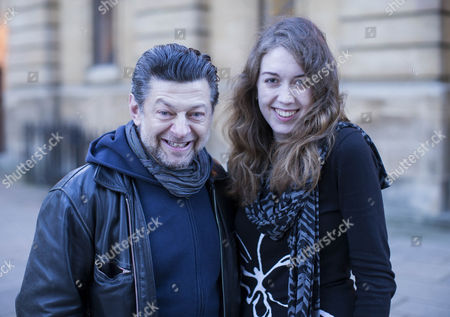 Author of the Mime Order Samantha Shannon with actor Andy Serkis.