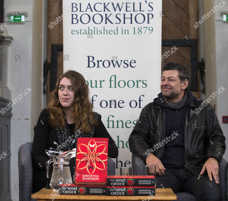 Stock Image of Author of the Mime Order Samantha Shannon with actor Andy Serkis.