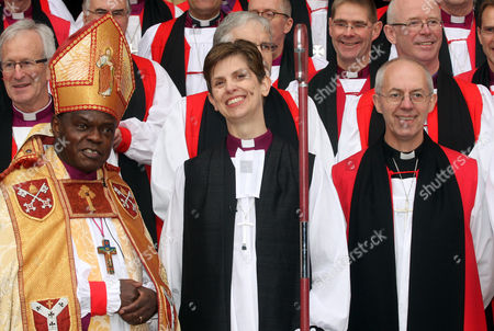 The Bishop of Stockport; Rev Libby Lane and The Archbishop of York; Archbishop of York John Sentamu with Rowan Williams ; Justin Welby (R)