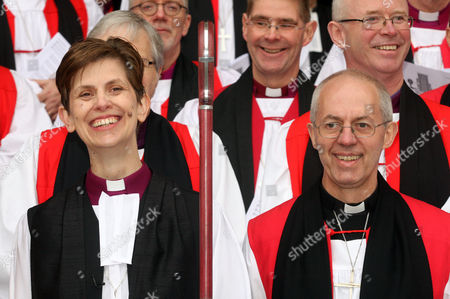The Bishop of Stockport; Rev Libby Lane with Rowan Williams ; Justin Welby (R)