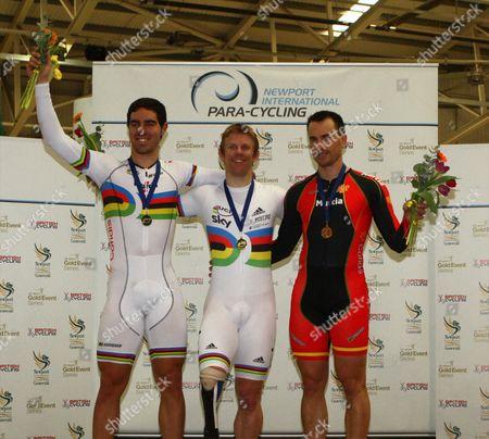 Silver medallist, Alfonso Cabello Llamas (Spain), gold medallist, Jody Cundy (GBR), bronze medallist, Pablo Jaramillo Gallardo (Spain).