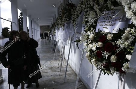 The wreath of Greek singer Nana Mouschouri at Demis Roussos' funeral procession in Athens