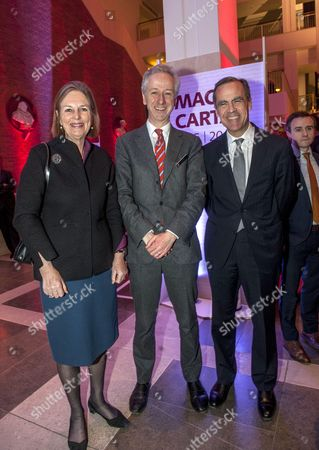 Stock Photo of Mark Carney, Governor of the Bank of England, with British Library CEO Roly Keating