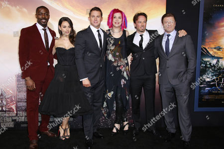 David Ajala, Mila Kunis, Channing Tatum, Lana Wachowski, Kick Gurry and Sean Bean