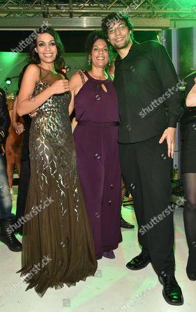 Rosario Dawson with mother Isabel Celeste Dawson and brother Clay Dawson