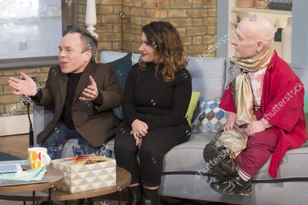 Stock Picture of Warwick Davis, Francesca Papagno and Jon Key