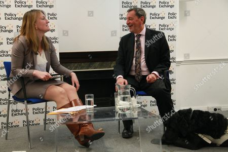 Rt. Hon David Blunkett MP, guide dog Cosby, and Allegra Stratton (Newsnight editor)