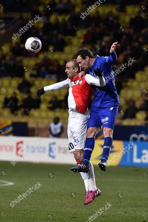 Stock Image of Dimitar Berbatov (L) of Monaco and Sebastien Squillaci of Bastia
