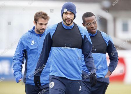QPR's Steven Caulker, Nico Kranjcar and Sedum Onuoha before the training session