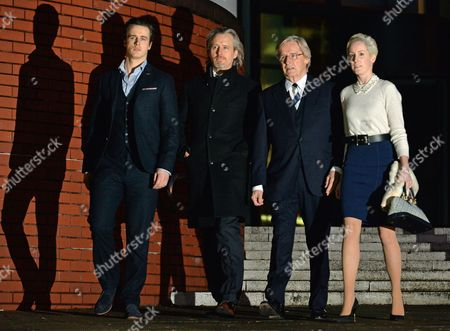Stock Photo of Coronation St. Actor William Roache 81 (ken Barlow) Appears At Preston Crown Court Accused Of 1 Count Of Rape And 4 Counts Of Indecent Assault. Pictured With Sons James Roache Linus Roache And Daughter Verity Roache.  28/1/14.