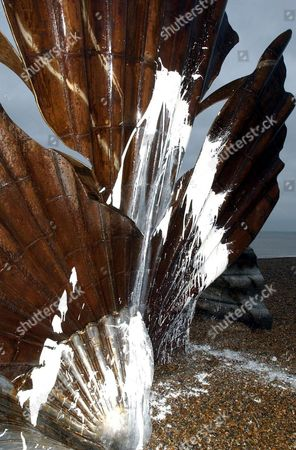 The vandalised steel scallop sculpture on Aldeburgh beach placed as a tribute to composer Sir Benjamin Britten.