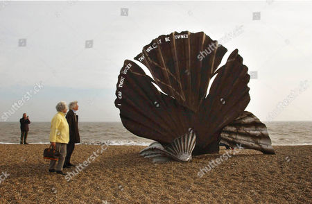 The steel scallop sculpture on Aldeburgh beach placed as a tribute to composer Sir Benjamin Britten.